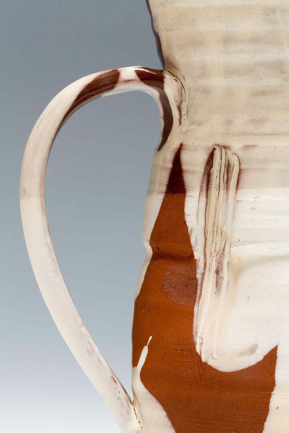 Slipware Jug handle detail, terracotta, slip and honey glaze