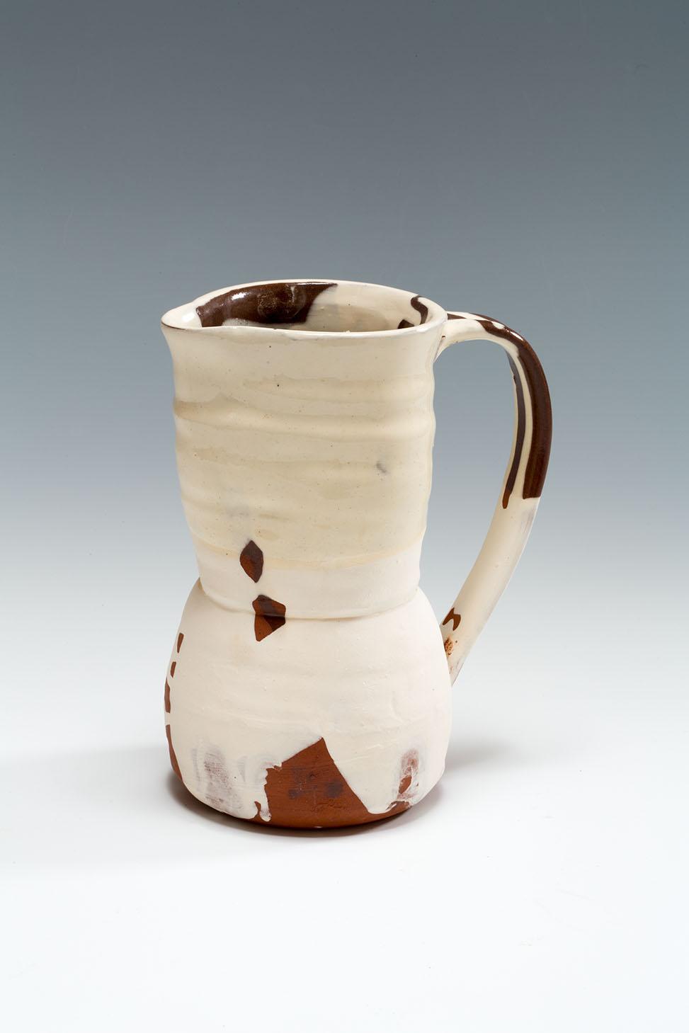 Slipware Jug, terracotta, honey and transparent glazes