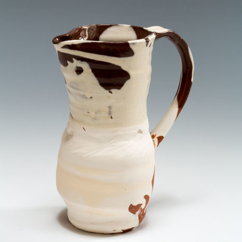 Slipware Jug detail, terracotta, slip and honey glaze