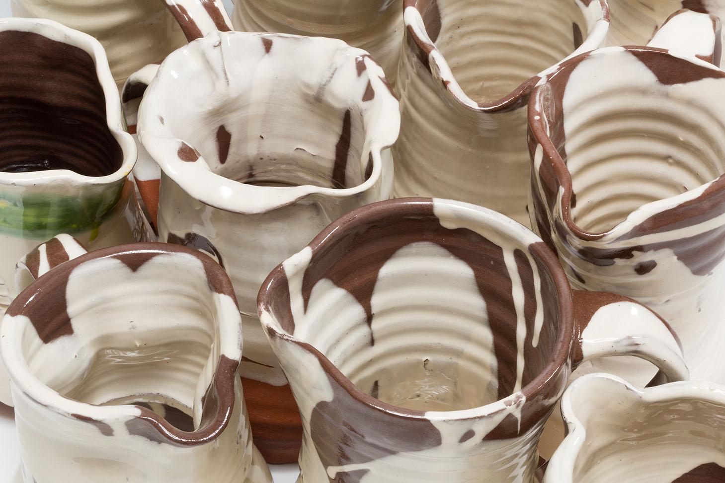 Slipware Jugs, terracotta, honey and transparent glazes