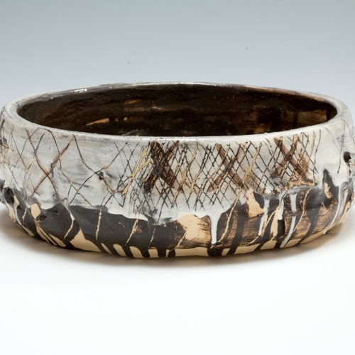 Slipware Bowl with painted crosses, porcelain and black slip